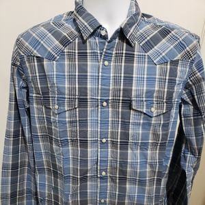lucky brand Western peral snap long sleeve button